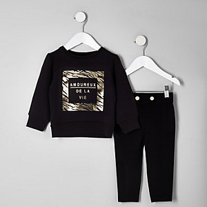 Mini girls black foil print sweatshirt outfit