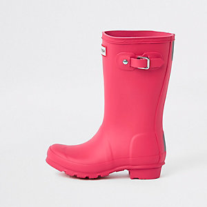 Kids Hunter Original pink wellington boots