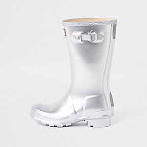 Kids Hunter Original silver wellington boots