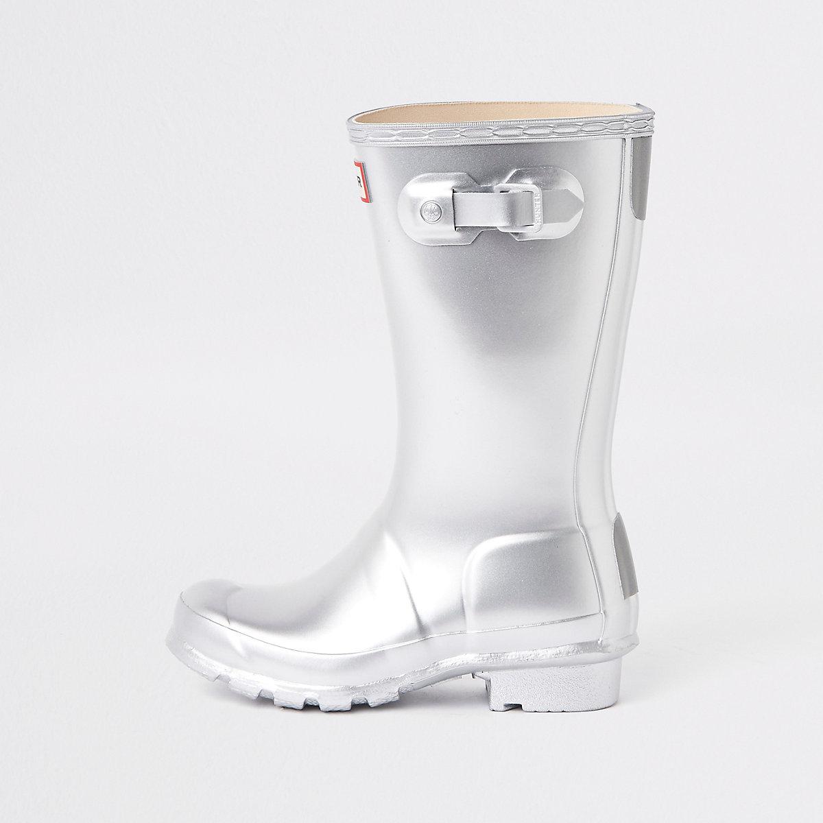 Kids Hunter Original silver rubber boots