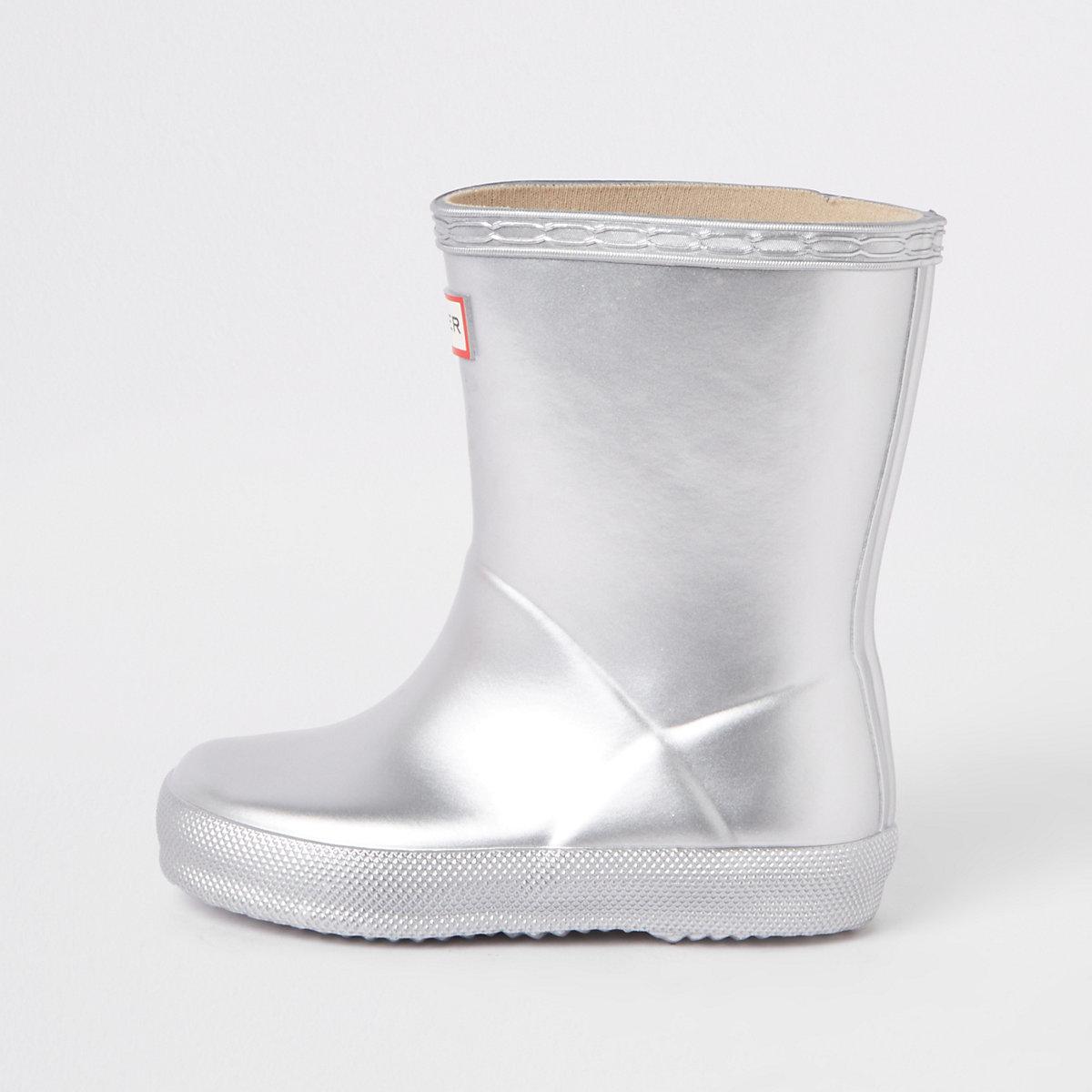 Mini kids Hunter Original silver rubber boots