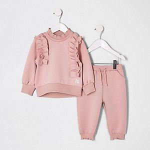 Mini - Roze outfit met sweatshirt met ruches voor meisjes