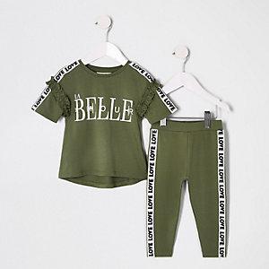 Mini - Kaki T-shirtoutfit met 'La belle'-print voor meisjes