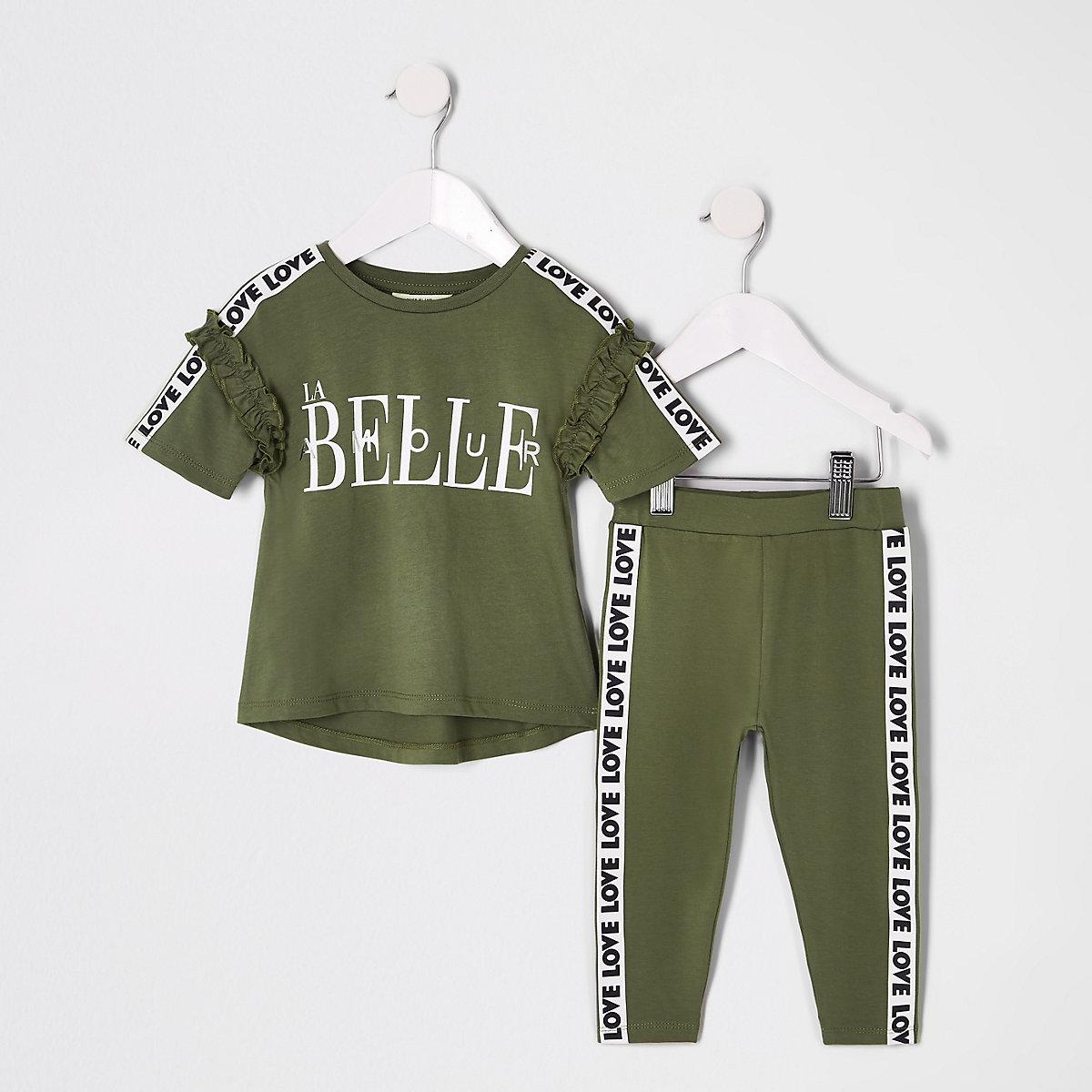 Mini girls khaki 'La belle' T-shirt outfit