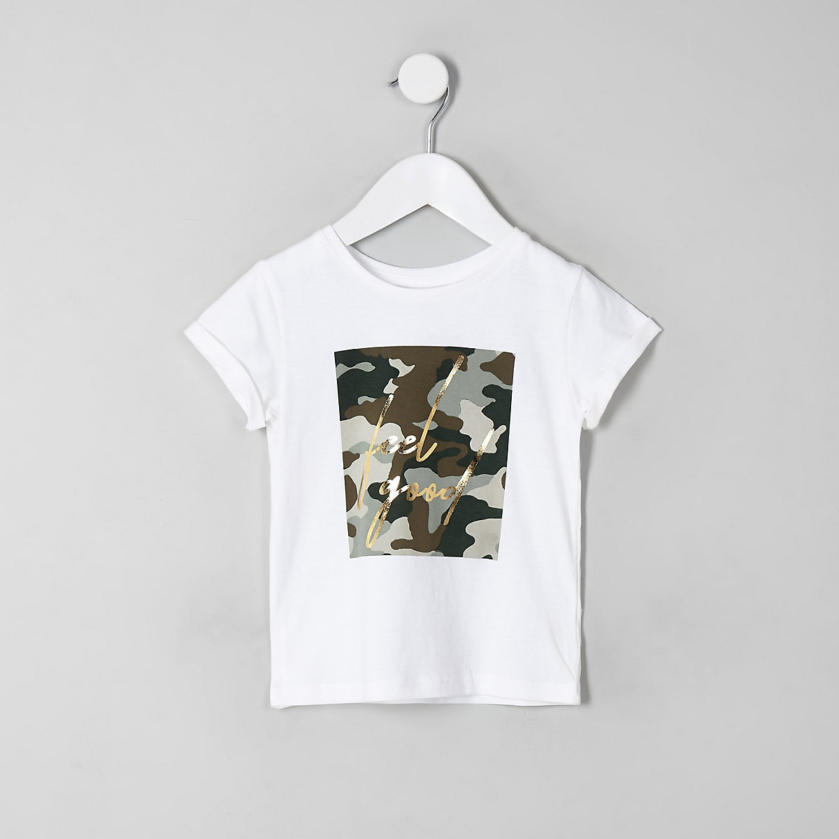 Mini girls white camo 'feel good' T-shirt