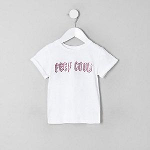 Mini - Wit T-shirt met 'feel good'-print en glitter voor meisjes