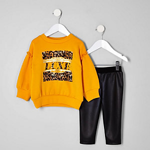 Mini girls yellow leopard print sweater set