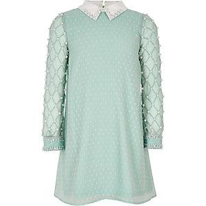 Light green pearl embellished collar dress
