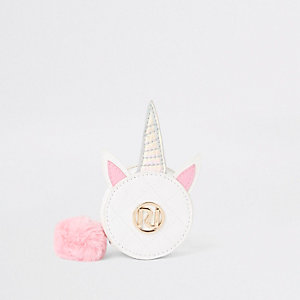 Girls white unicorn circle purse