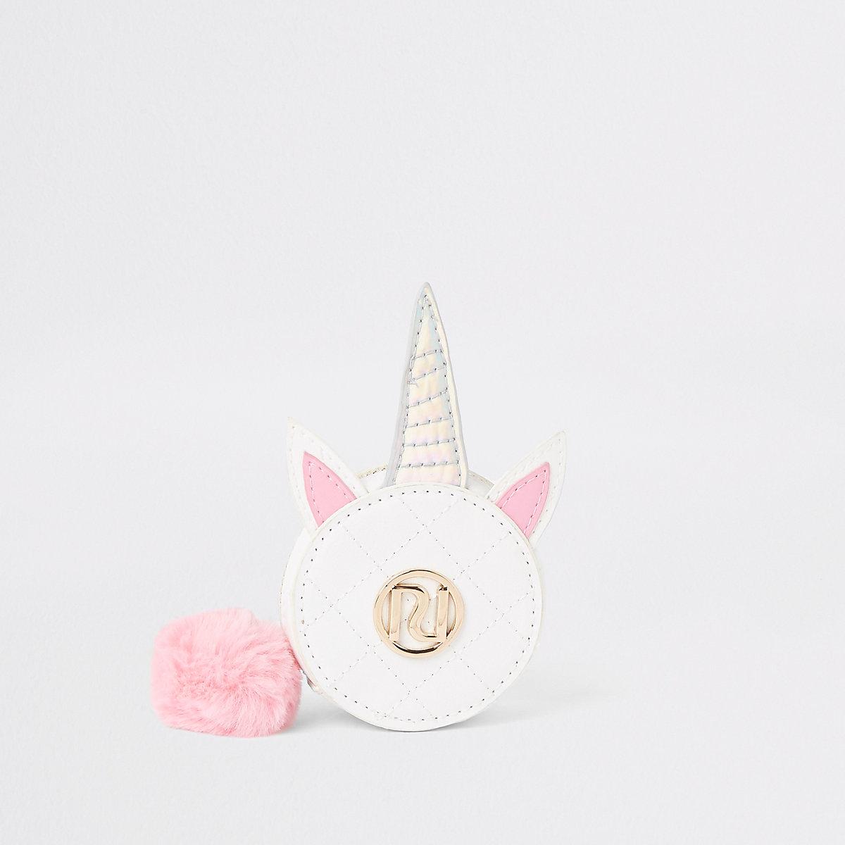 Girls white unicorn circle purse