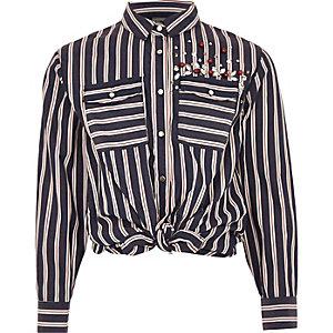 Girls blue stripe embellished tie front shirt