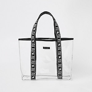 Girls black vinyl shopper