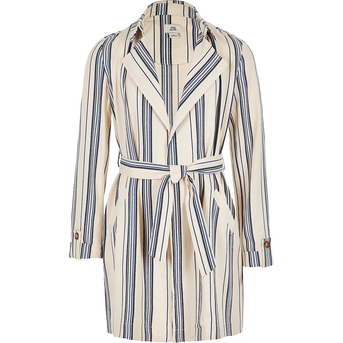 Girls navy stripe trench coat