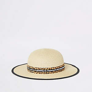 Mini girls beige leopard trim straw hat