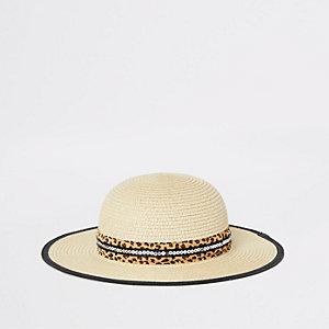 Mini girls beige leopard trim straw hat