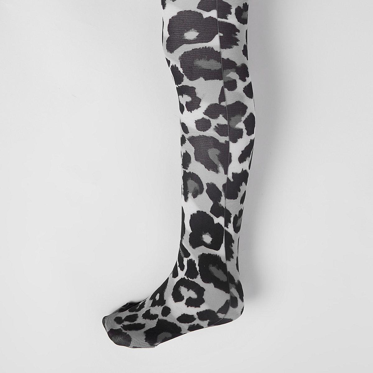 Girls grey leopard print tights