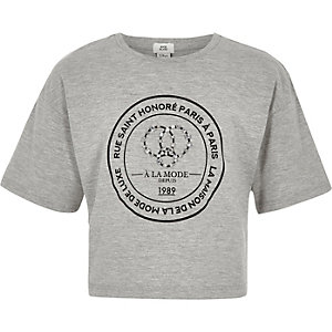 Girls grey circle embellished T-shirt