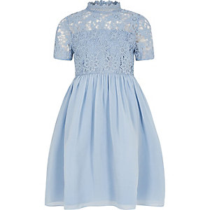 Girls Chi Chi blue floral lace dress