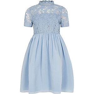 Chi Chi - Blauwe kanten jurk met bloemen voor meisjes