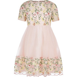 Girls Chi Chi London pink floral prom dress