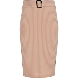 Girls pink ribbed tube skirt