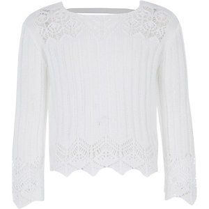 Girls white crotchet wide sleeve top