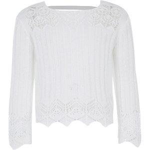 Witte gehaakte top met wijde mouwen voor meisjes
