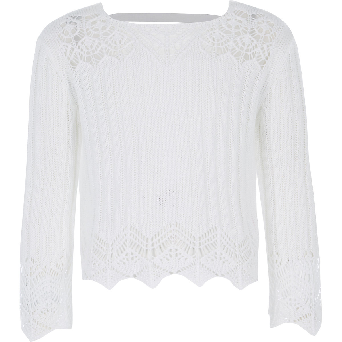 Girls white crotchet wide sleeve top