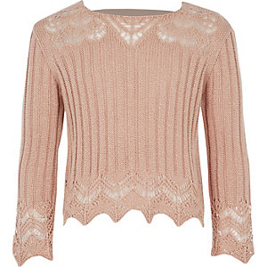 Girls pink crotchet wide sleeve top