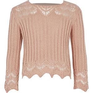 Roze gehaakte top met wijde mouwen voor meisjes