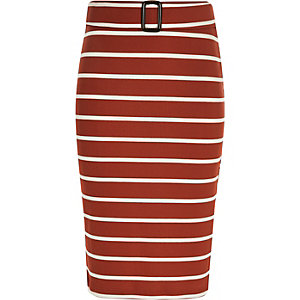 Girls rust stripe tube skirt