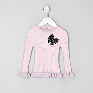 Mini girls pink bow frill jumper