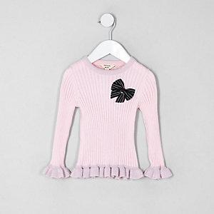 Mini - Roze pullover met strik en ruches voor meisjes