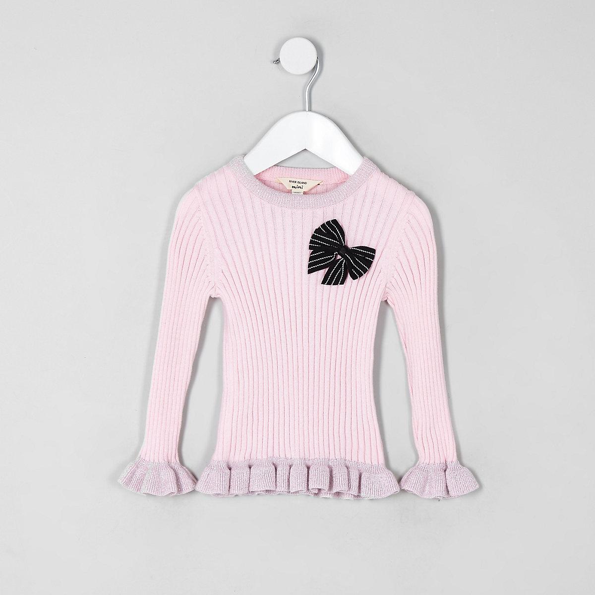 Mini girls pink bow frill jumper