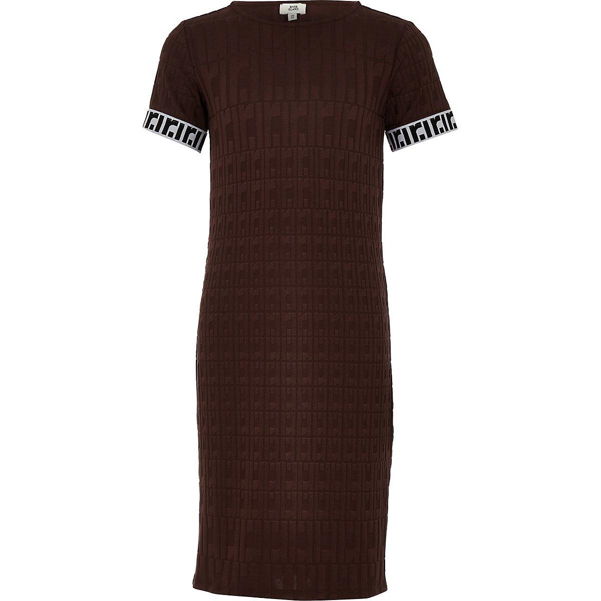 Girls brown RI monogram midi dress