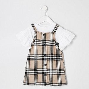 Mini - Bruine geruite overgooieroutfit voor meisjes