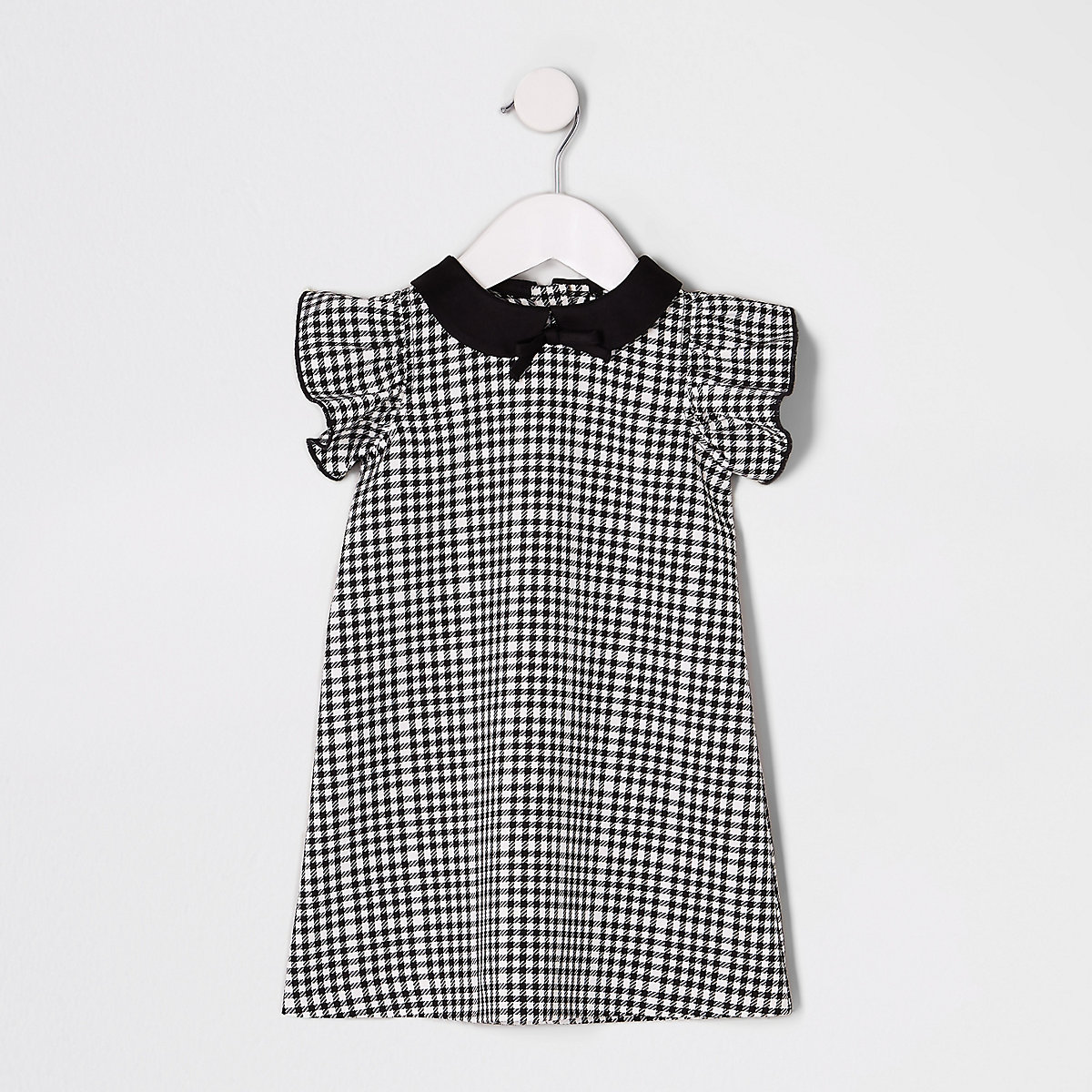 Mini girls black mono check shift dress