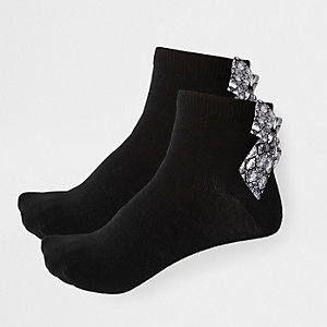 Girls black snake bow ankle socks multipack