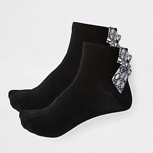Multipack zwarte sokken met slangenprint en strik voor meisjes