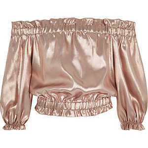 Girls pink metallic bardot top