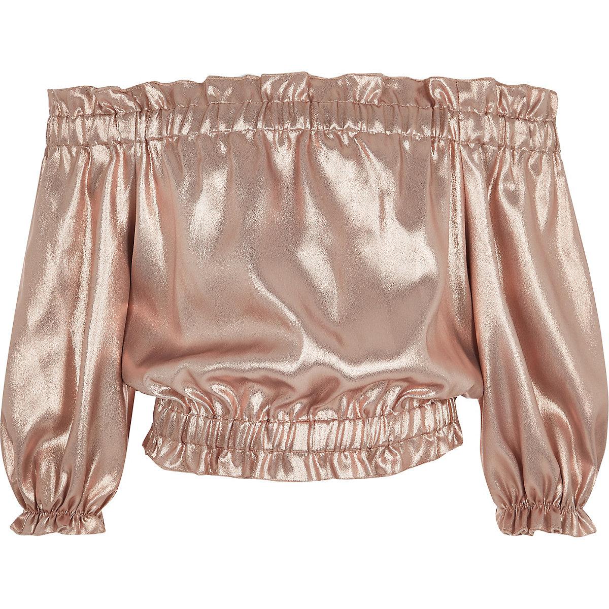Girls pink metallic bardot top