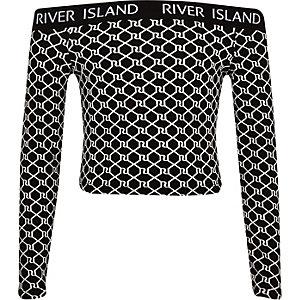 Zwarte bardottop met RI-logo voor meisjes