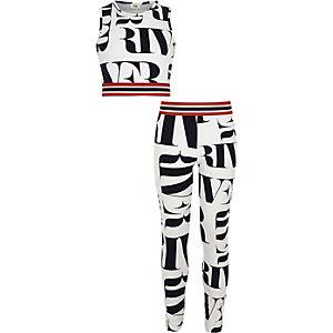 Outfit met witte crop RI top met legging voor meisjes