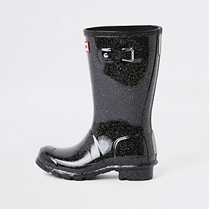 Kids Hunter Original black glitter rubber boots