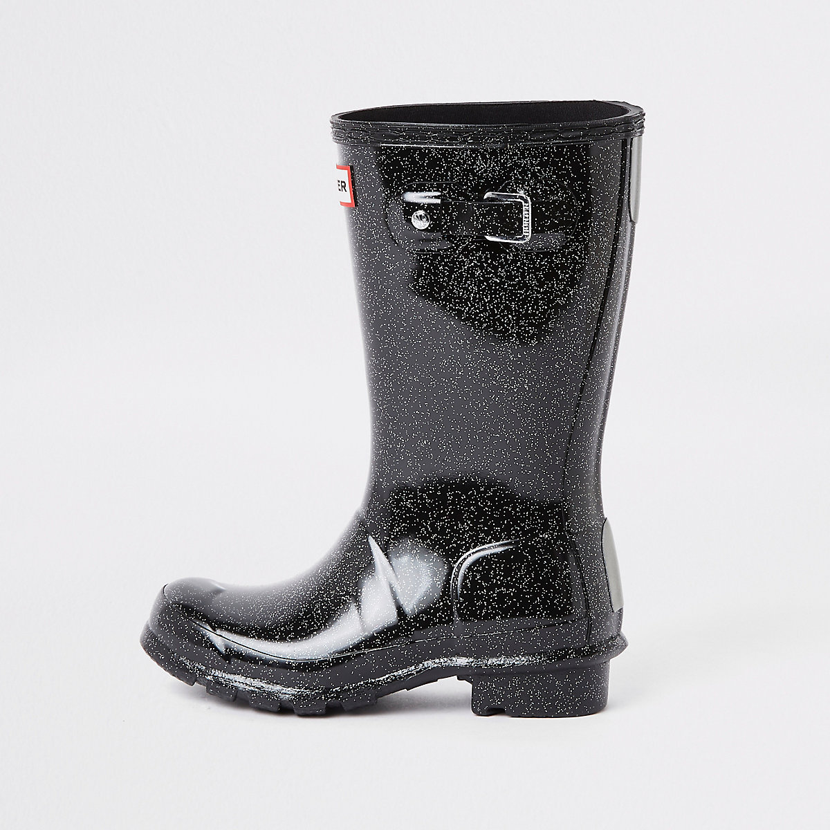 Kids Hunter Original black glitter rubber boots