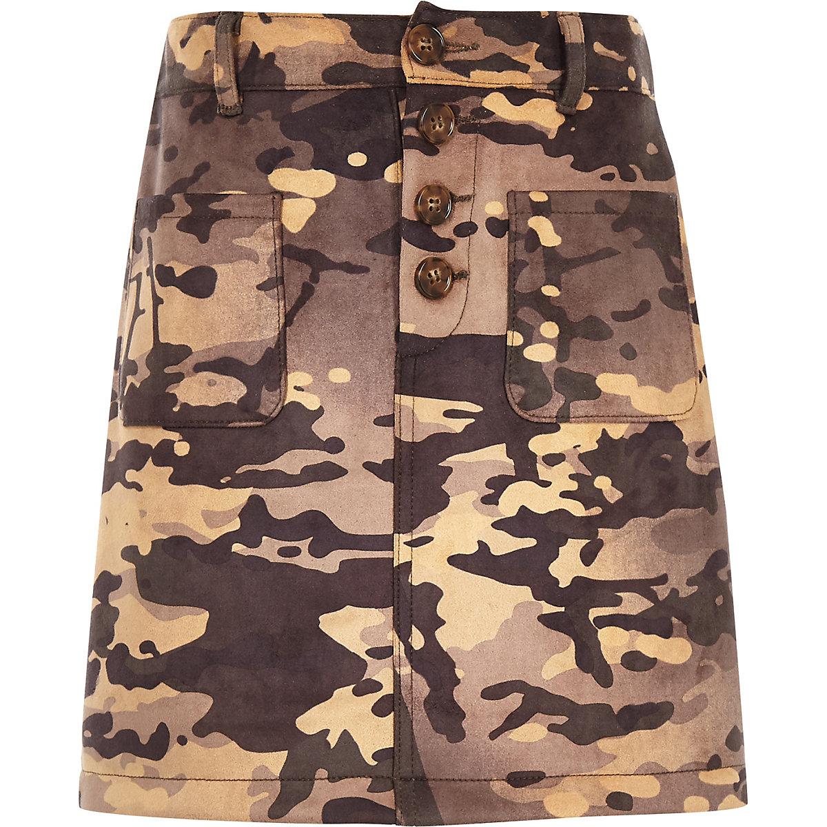 Girls khaki camo A line skirt