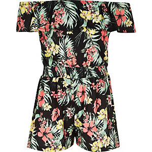 Girls black Hawaiian print fill romper
