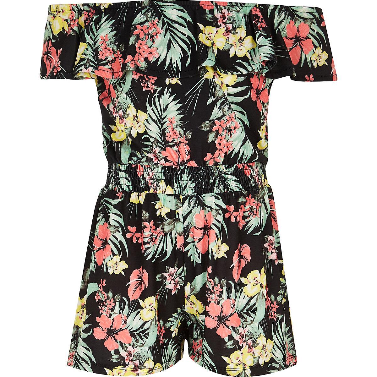 Girls black Hawaiian print fill playsuit