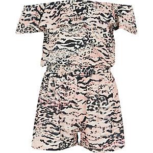 Girls pink animal print bardot romper