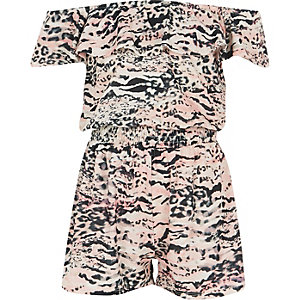 Combi-short Bardot à imprimé animal rose pour fille